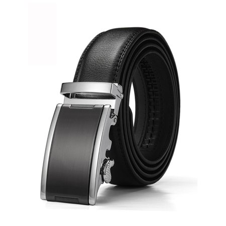 Black Leather Plaque Buckle Belt - Xhtang Men's Solid Buckle with Automatic Ratchet Leather Belt 35mm Wide 1 3/8