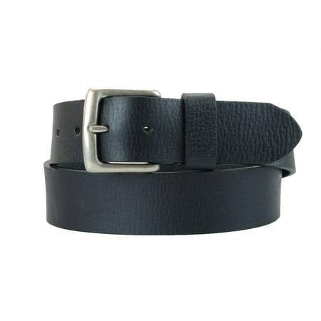 1-1/2 in. US Steer Hide Leather Pebble Grain Men's Belt w/ Antq. Nickel Buckle