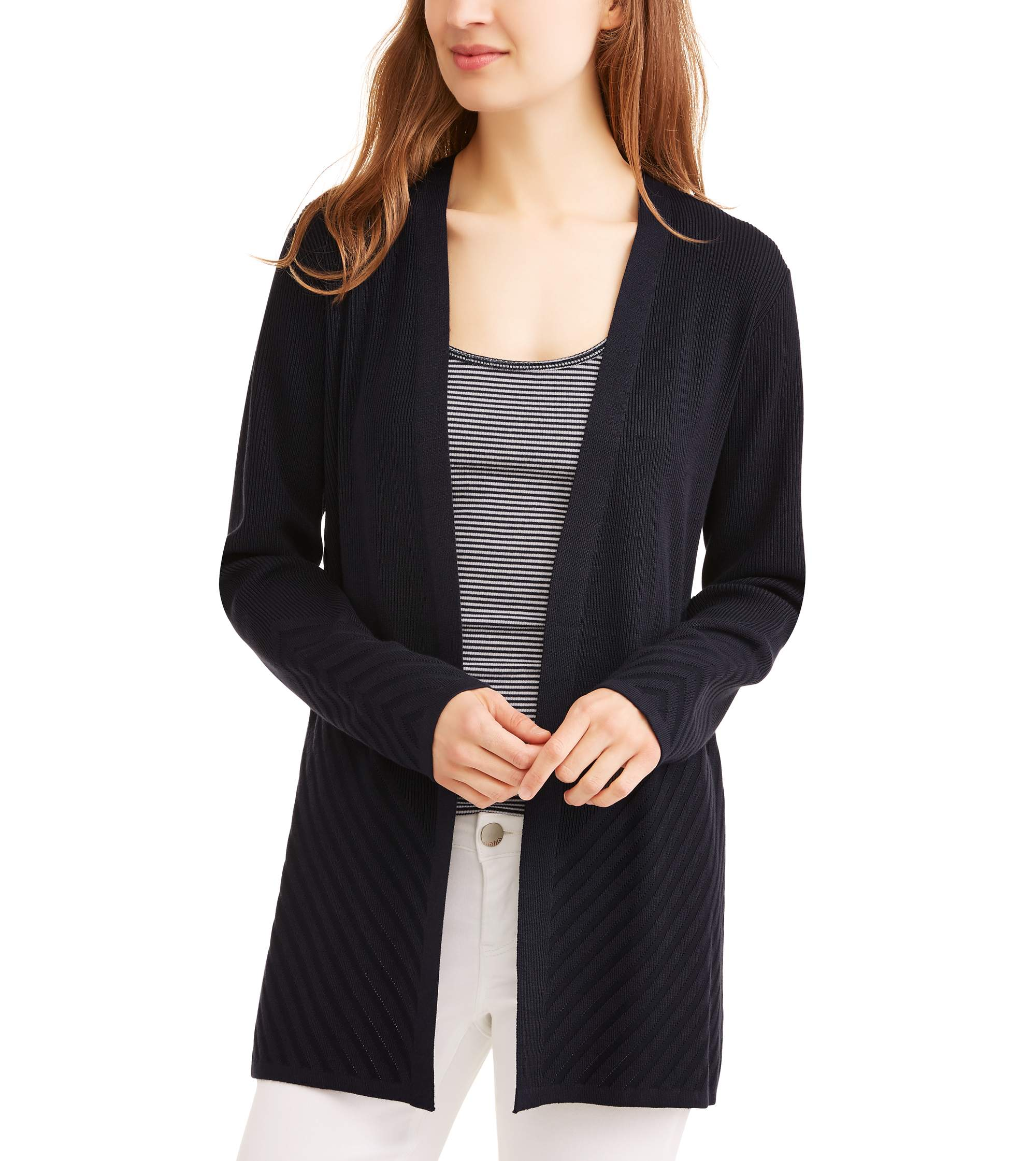 Women's Ribbed Detail Cardigan by Generic