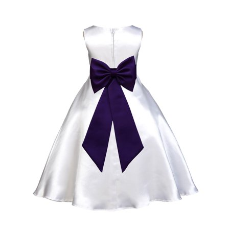 Ekidsbridal Formal Satin White A-Line Flower Girl Dress Bridal Bridesmaid Wedding Pageant Toddler Recital Easter Summer Reception Communion Graduation Baby Baptism Special Occasions