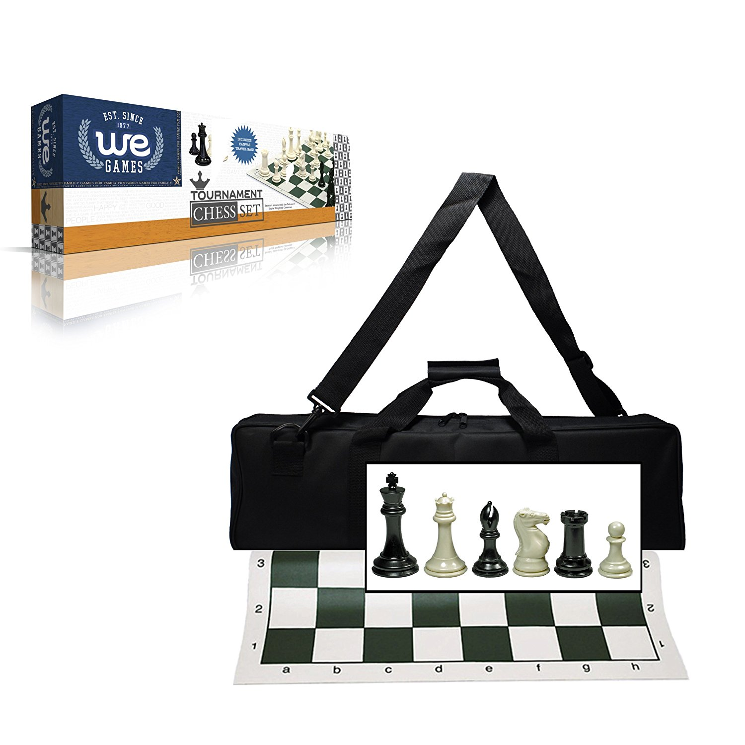 Wood Expressions Deluxe Tournament Chess Set with Canvas Bag and Triple Weighted Chessmen by Wood Expressions
