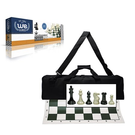 Wood Expressions Deluxe Tournament Chess Set with Canvas Bag and Triple Weighted Chessmen Deluxe Wood Chess Set