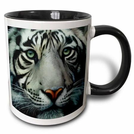Tigers College Logo Mug - 3dRose White Tiger - Two Tone Black Mug, 11-ounce