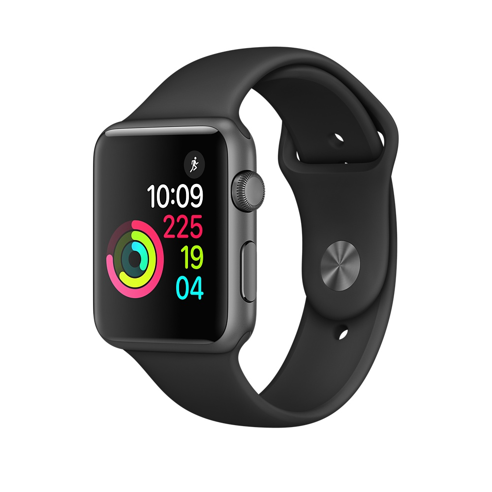 Refurbished Apple Watch Series 1, 42mm Space Gray Aluminum Case with Black Sport Band