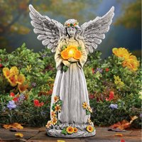 Collections Etc. Solar Light Up Angel with Sunflowers, Wings Spread, Garden Statue