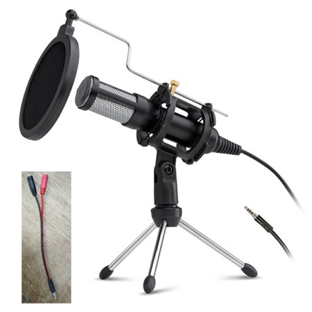 Mascarry Condenser Microphone with Tripod Stand For Game Chat Audio Recording Computer Professional Studio Condenser Mic(3.5MM Interface+1 to 2 Convert Cable)