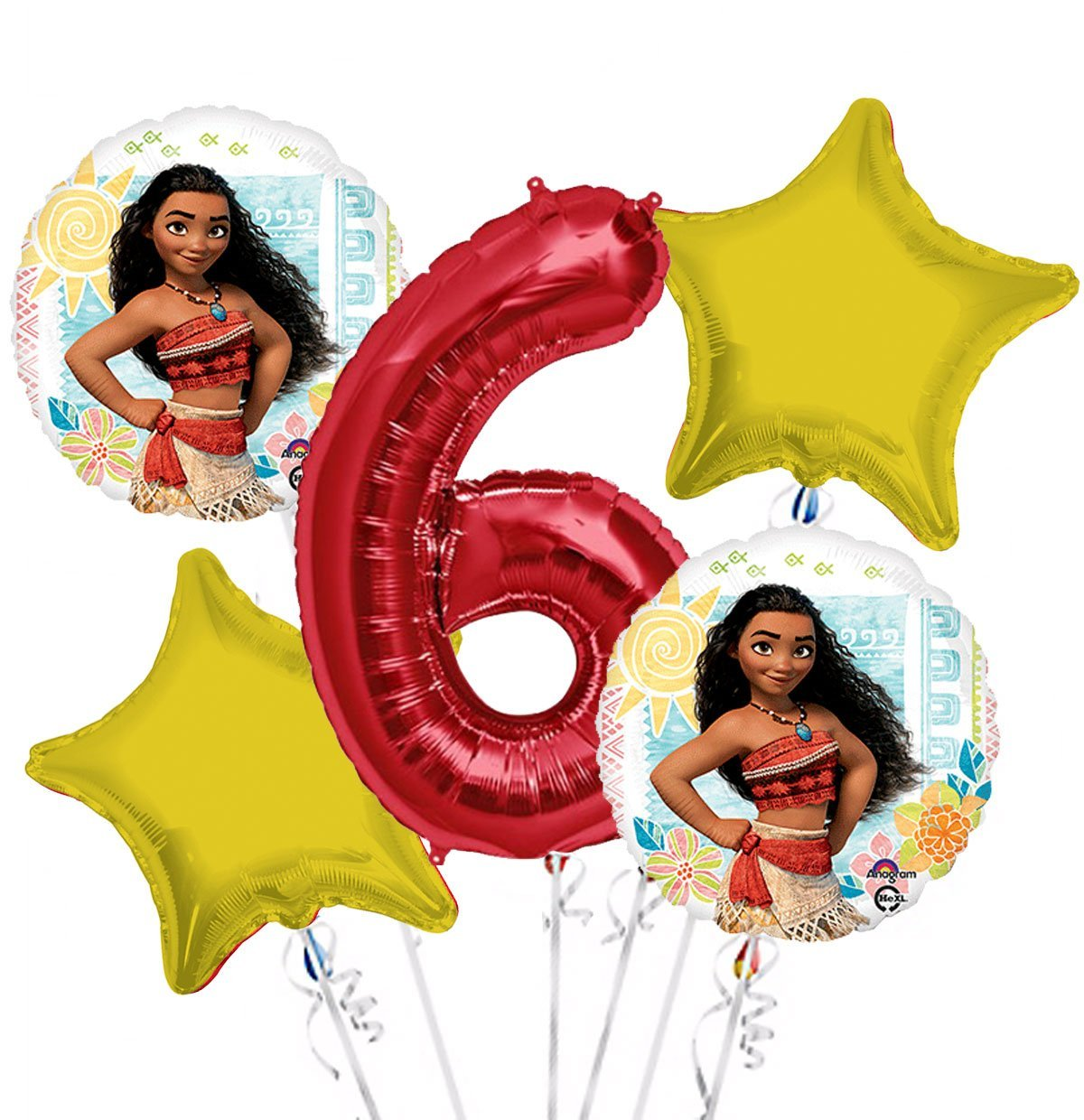 Moana Balloon Bouquet 6th Birthday 5 pcs - Party Supplies, 1 Giant Number 6 Balloon, 34in By Viva Party