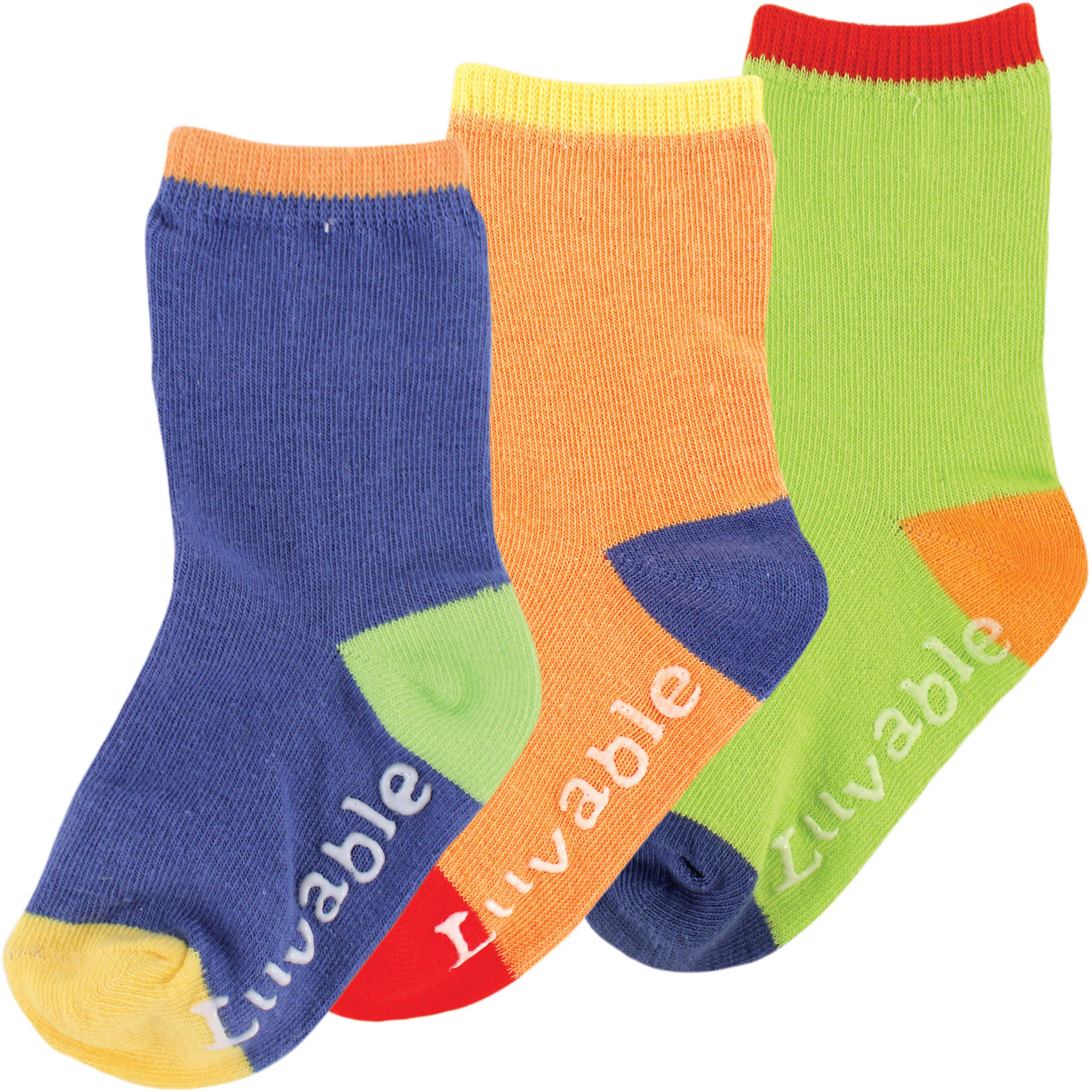 Luvable Friends Newborn Baby Boys Kickproof Non-Skid Socks 3-Pack