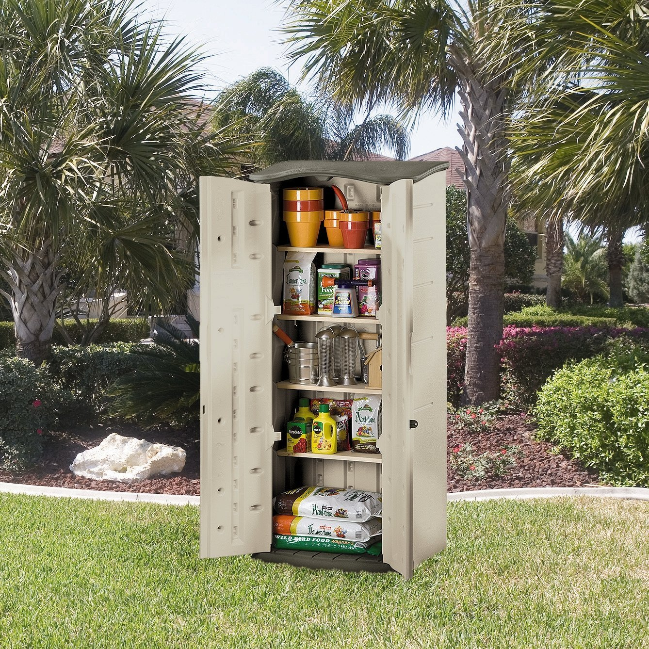 rubbermaid extra small vertical shed walmart com rh walmart com rubbermaid outdoor storage cabinets with shelves Outdoor Utility Storage Cabinet