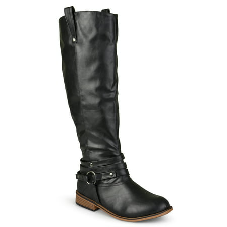 Brinley Co. Extra Wide Calf Ankle Strap Knee-high Riding Boots (Women's) Black Patent Riding Boot