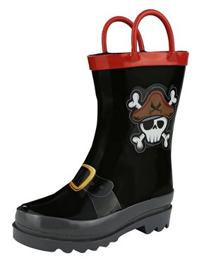 6e725dfc74a8 Product Image Puddle Play Kids Boys  Pirate Character Printed Waterproof  Easy-On Rubber Rain Boots (