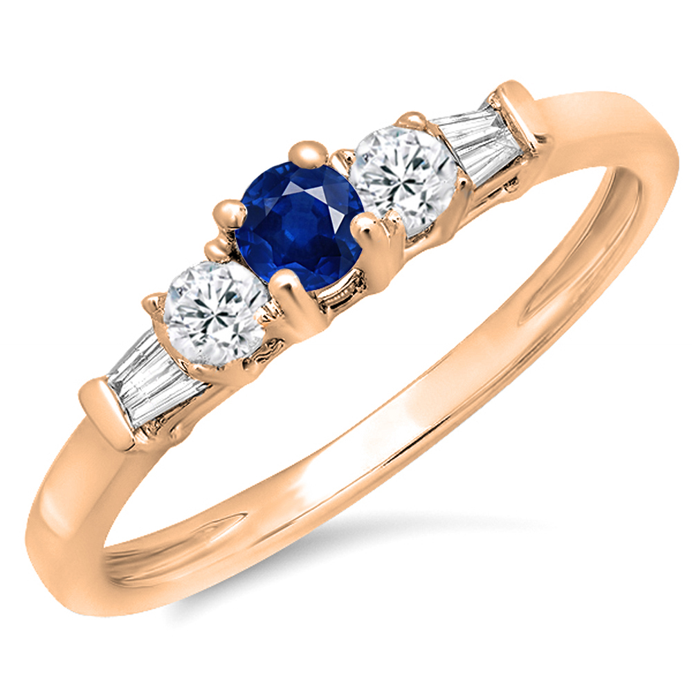 0.45 Carat (ctw) 18K Rose Gold Round & Baguette Cut White & Blue Sapphire Diamond Ladies 3 Stone Engagement Bridal Ring