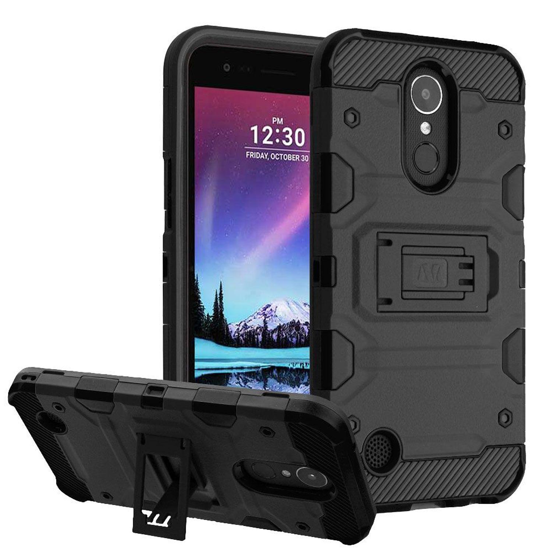 LG K20 Plus case, LG K20 Plus phone case, LG K10 2017 case, LG K20 V phone case, by Insten Storm Tank 2-Layer [Shock Absorbing] Hybrid Stand Case For LG K20 Plus / K20 V / K10 (2017) / Harmony, Black