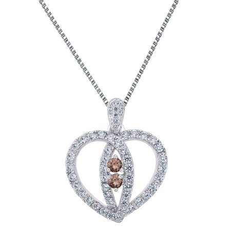Sterling Silver Heart Pendant 2 Solitaire Brown Cz Forever Us Charm 18   Free Necklace