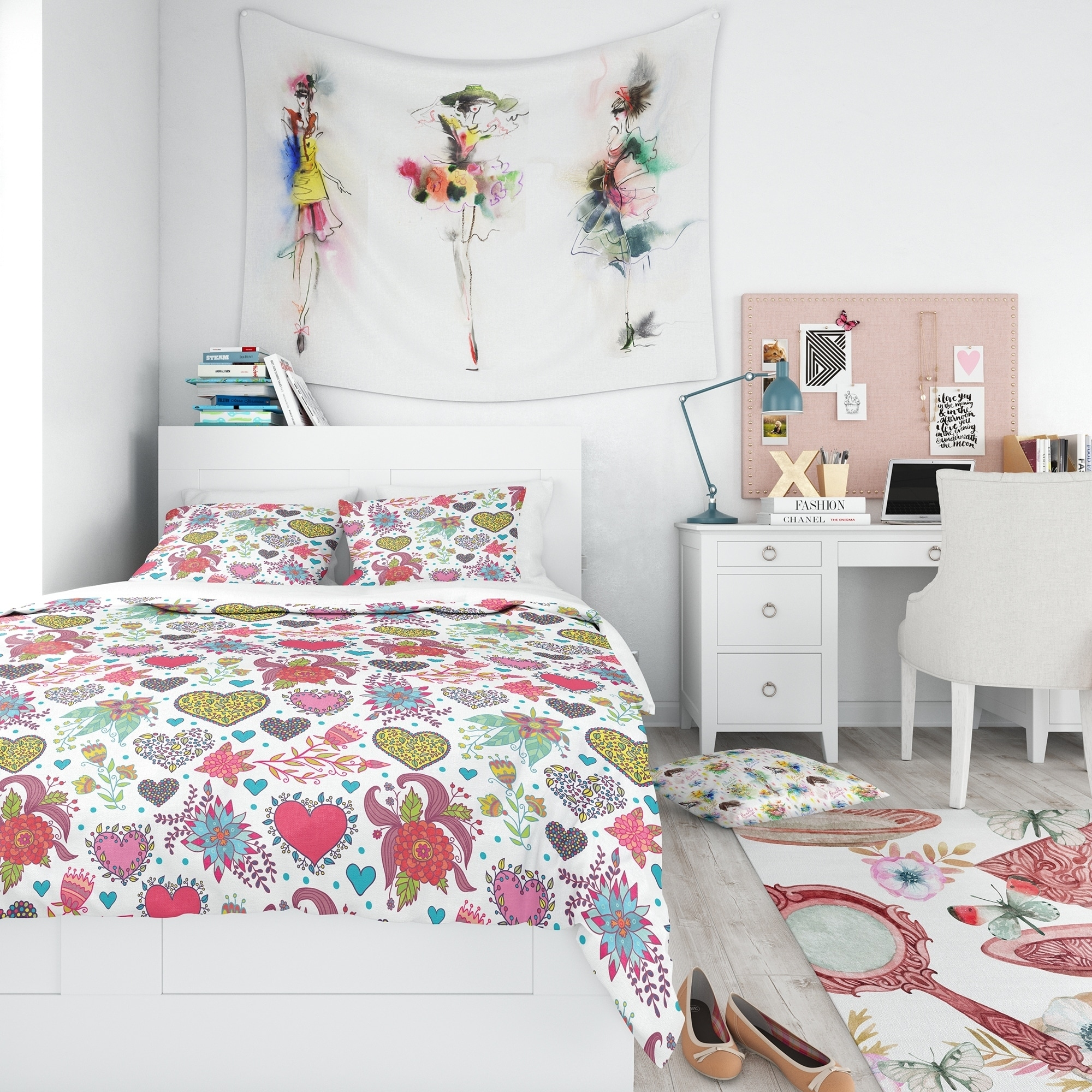 DESIGN ART Designart 'Beautiful Flowers & Hearts Pattern' Modern kids Teen Bedding Set - Duvet Cover & Shams