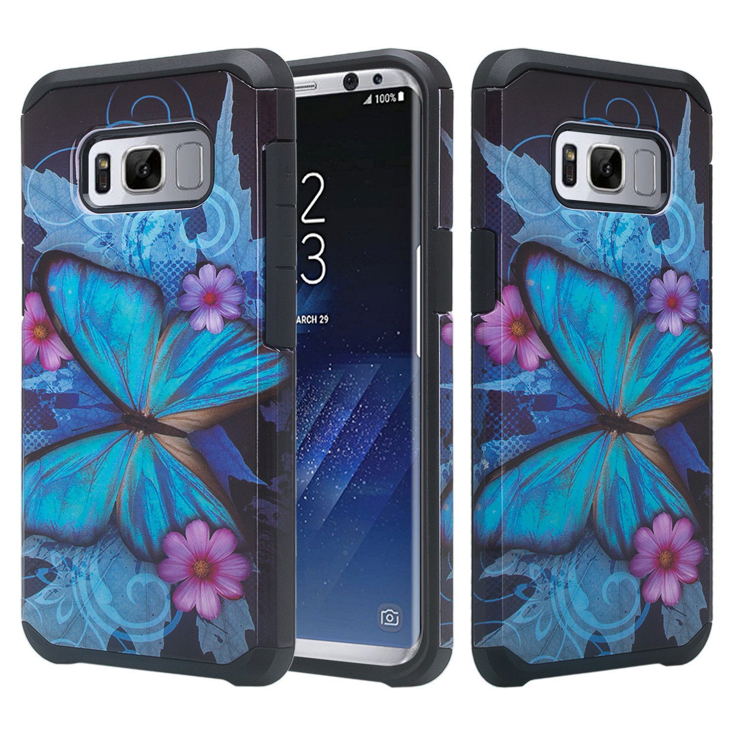 Samsung Galaxy S8 Plus Case, Slim Hybrid Dual Layer[Shock Resistant] Protective Case Cover - Blue Butterfly