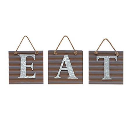 Barnyard Designs Eat Galvanized Metal Letter Tile Wall Sign, Primitive Country Rustic Kitchen Farmhouse Home Decor Sign 28
