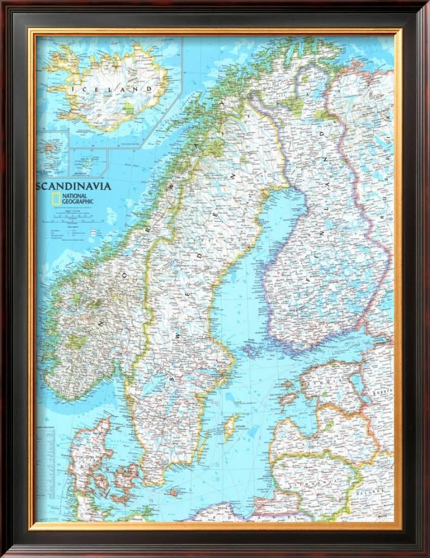 image about Scandinavia Map Printable named Map of Scandinavia Framed Artwork Print Wall Artwork - 24x31