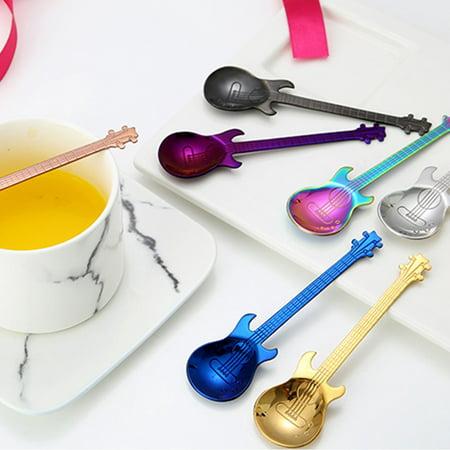 Guitar Coffee Spoon Set Stainless Steel Dessert Ice Cream Spoon Tea Spoon Coffee Accessories Flatware Drinking Tools - image 6 of 11