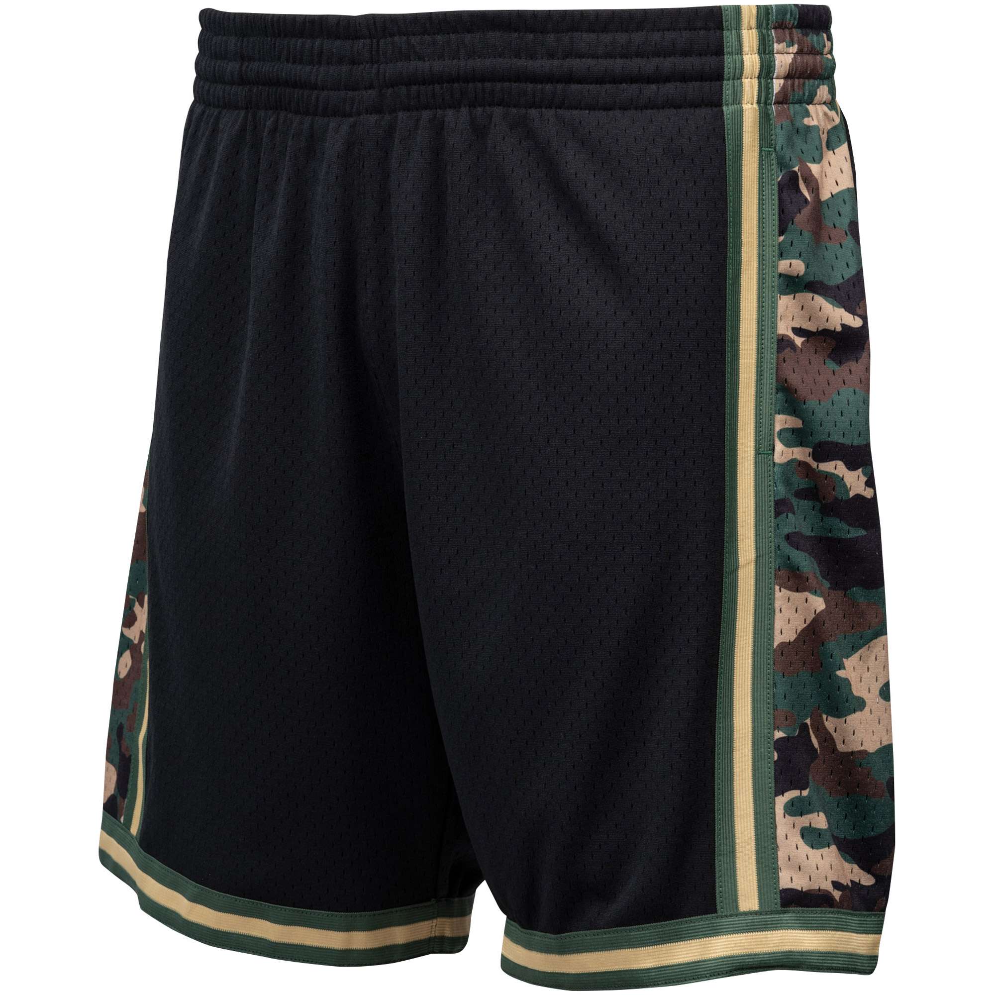 Los Angeles Lakers Mitchell & Ness Hardwood Classics Straight Fire Camo Swingman Shorts - Black