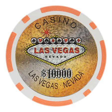 Las Vegas 14g Poker Chips, $10,000 Clay Heavy Weight Clay Composite, 50-pack ()