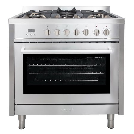 Cosmo F965 36 in. Freestanding Range with 5 Burner Gas Cooktop and Electric Convection - Electric Range Oven
