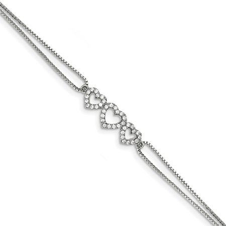 "Solid 925 Sterling Silver Polished CZ Cubic Zirconia Heart Bracelet 7"" - with Secure Lobster Lock Clasp"