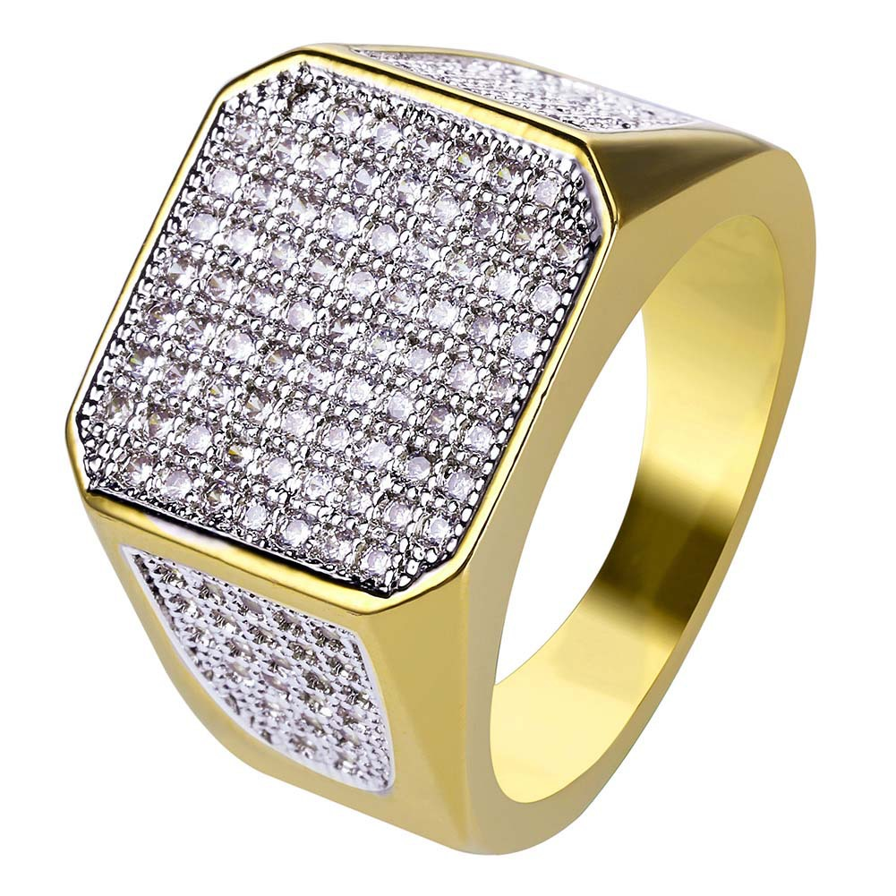 Asewin Gold Cluster Iced Out Lab Simulated Diamond Band Micropave
