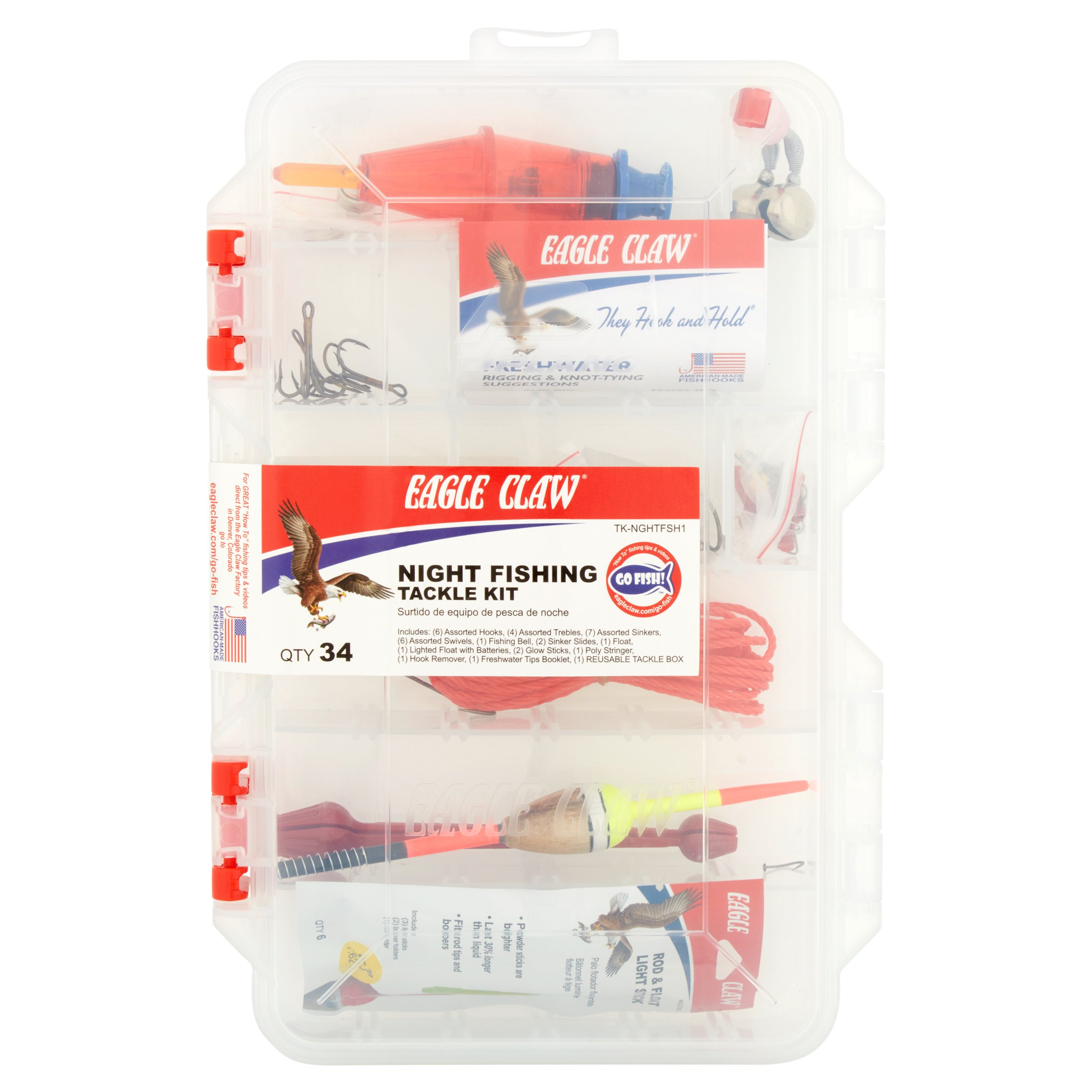 Eagle Claw Night Fishing Tackle Kit, 34 count