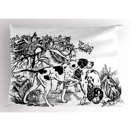 Hunting Pillow Sham Hunting Dogs in the Forest Monochrome Drawing English Pointer and Setter Breeds, Decorative Standard Size Printed Pillowcase, 26 X 20 Inches, Black White, by Ambesonne (Pointer Setter)