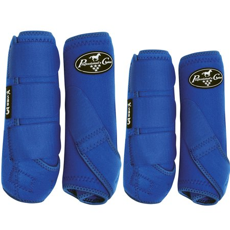 MEDIUM PROFESSIONAL CHOICE SMB 3 FRONT REAR HORSE SPORTS BOOTS 4 PACK ROYAL BLUE