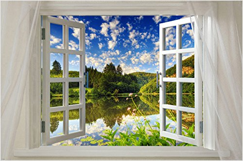 WINDOW ONTO OLD ENGLISH COUNTRY HOUSE 24X36 scenic poster COLLECTORS classic