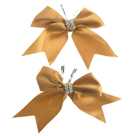 pre-tied satin bows with rhinestone, 4-inch, 2-piece, gold (Pretied Bow)