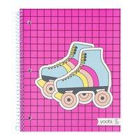 Yoobi Aqua Retro Skates 1 Subject College Ruled Spiral Notebook
