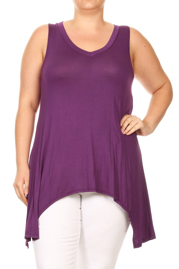 Plus Size Women's Sleeveless Solid Tunic Top