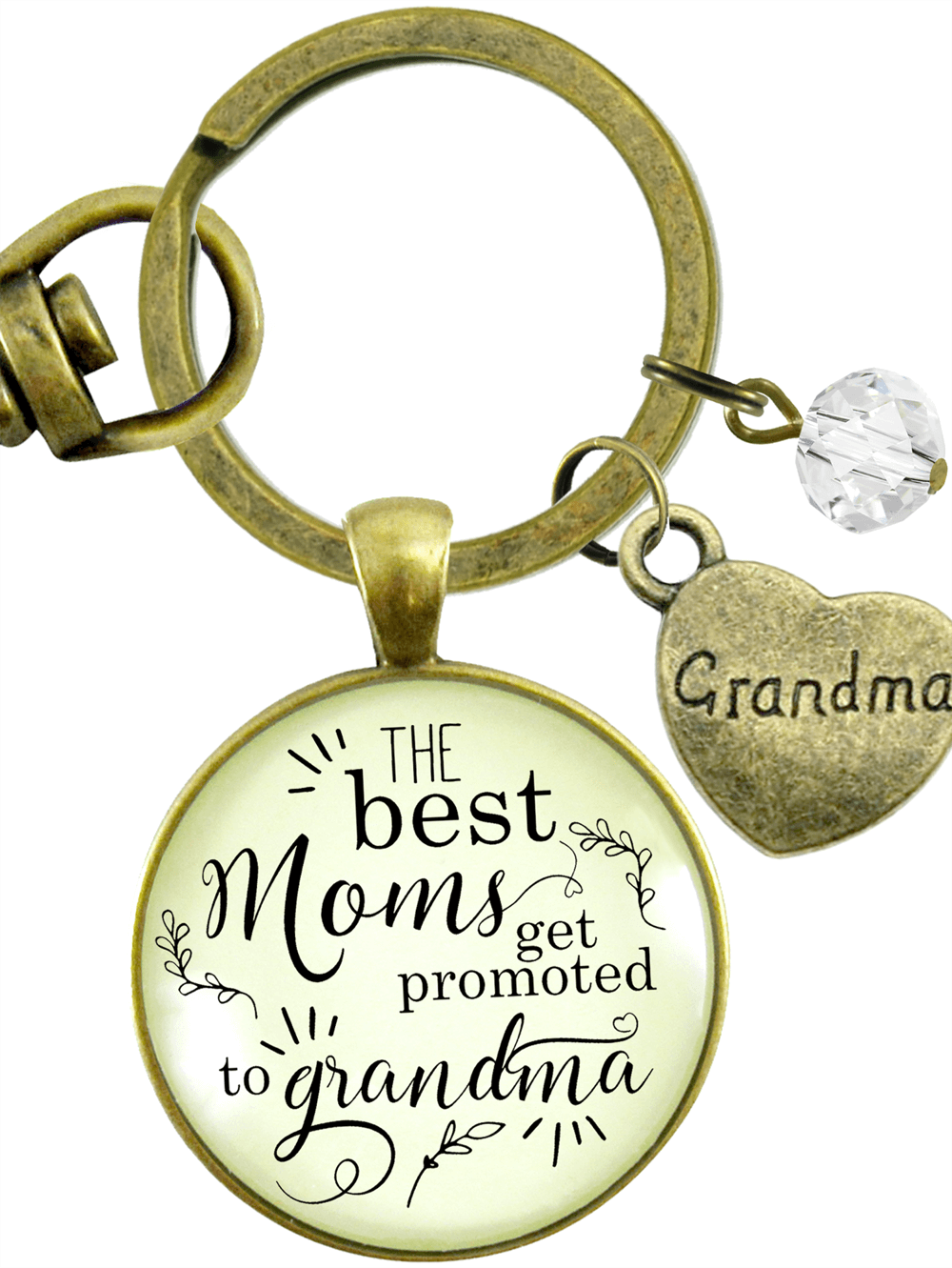 Grandma Necklace Keychain The Best Moms Get Promoted Grandmother Jewelry Meaningful Gift Personalized Birthstone Heart Charm Keepsake Card