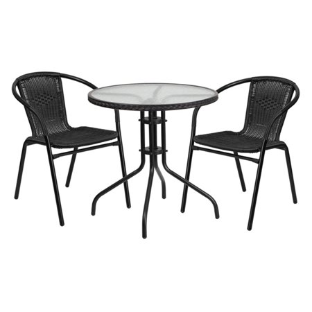 Flash Furniture 28 Round Gl Metal Table With Rattan Edging And 2 Black Stack Chairs Multiple Colors