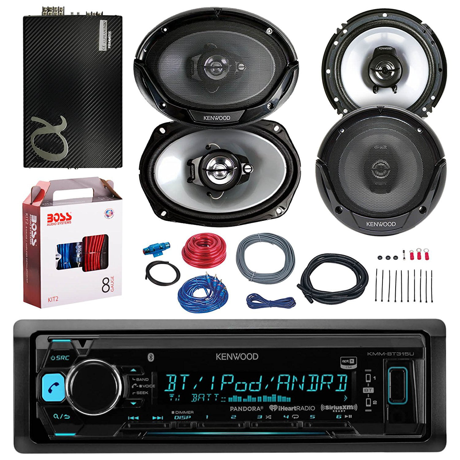 Kenwood Kmmbt318u Bluetooth Car Radio Stereo Receiver Bundle Combo Cheap Amp Wiring Kit With 2x 300w 65 2 Way Audio Speakers 6x9 3 Speaker 2400 Watt Class A B Amplifier Boss 8g Install