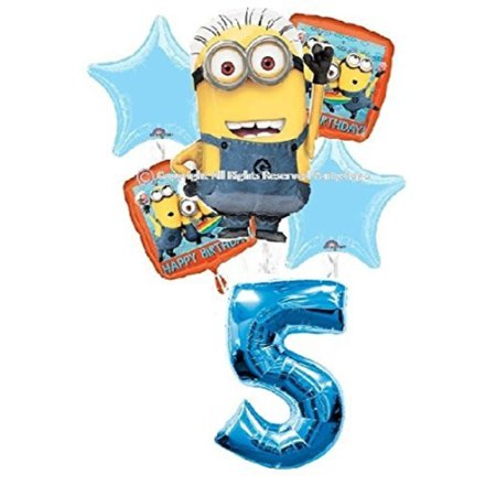 DESPICABLE ME MINIONS 5TH BIRTHDAY BALLOONS PARTY BOUQUET DECORATIONS SUPPLIES BLUE NUMBER 5