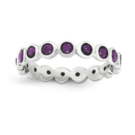 Icecarats 925 Sterling Silver February Swarovski Band Ring Size 5 00  Stackable Birthstone Gemstone Amethyst Fine Jewelry Gift Set For Women Heart