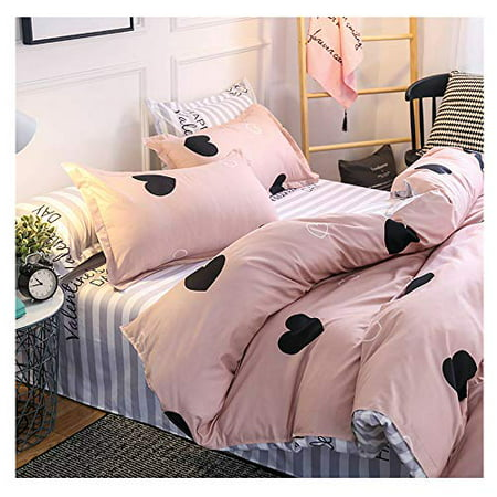 Orihome Queen Size Bedding Set Love Heart Print 3 Piece Bedding Sets One Duvet Cover Without Quilt Two Pillowa Nbsp Covers Soft Microfiber Teen Bedding For Kid Girl Bedroom Walmart Canada