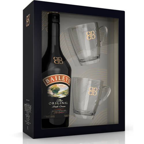 Bailey's Irish Cream Liqueur,  750 mL & 2 Mugs Gift Set