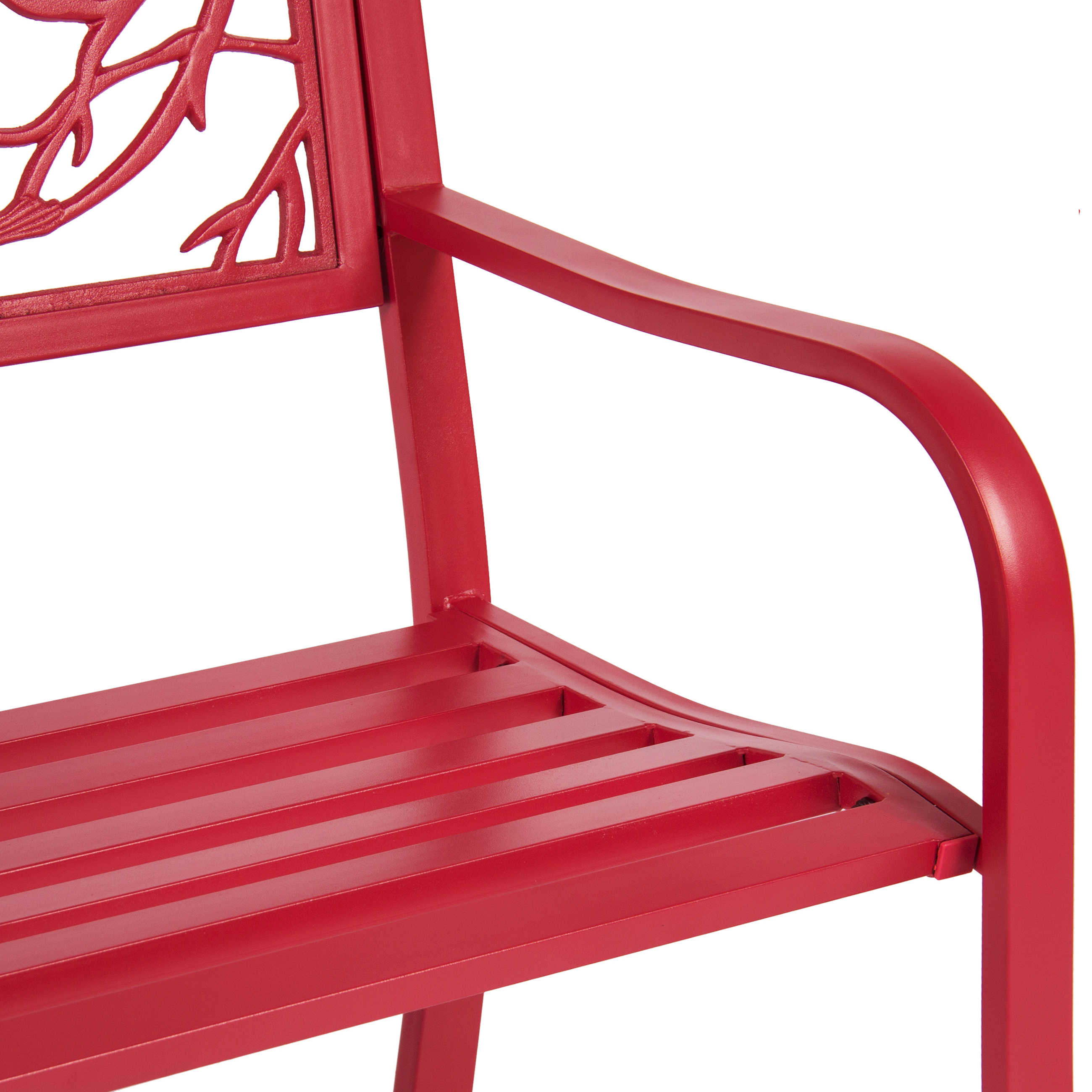 Best Choice Products Rose Red Steel Patio Garden Park Bench