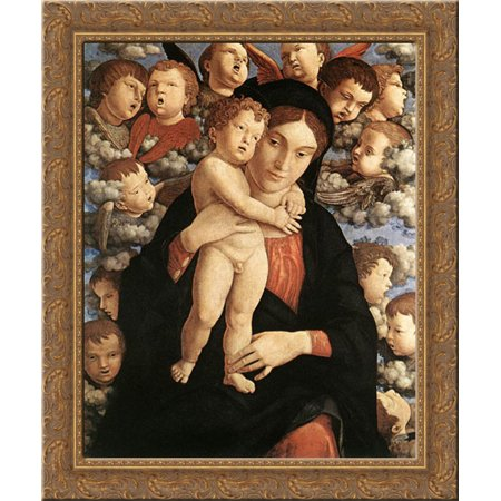 The Madonna Of The Cherubim 20X23 Gold Ornate Wood Framed Canvas Art By Mantegna  Andrea