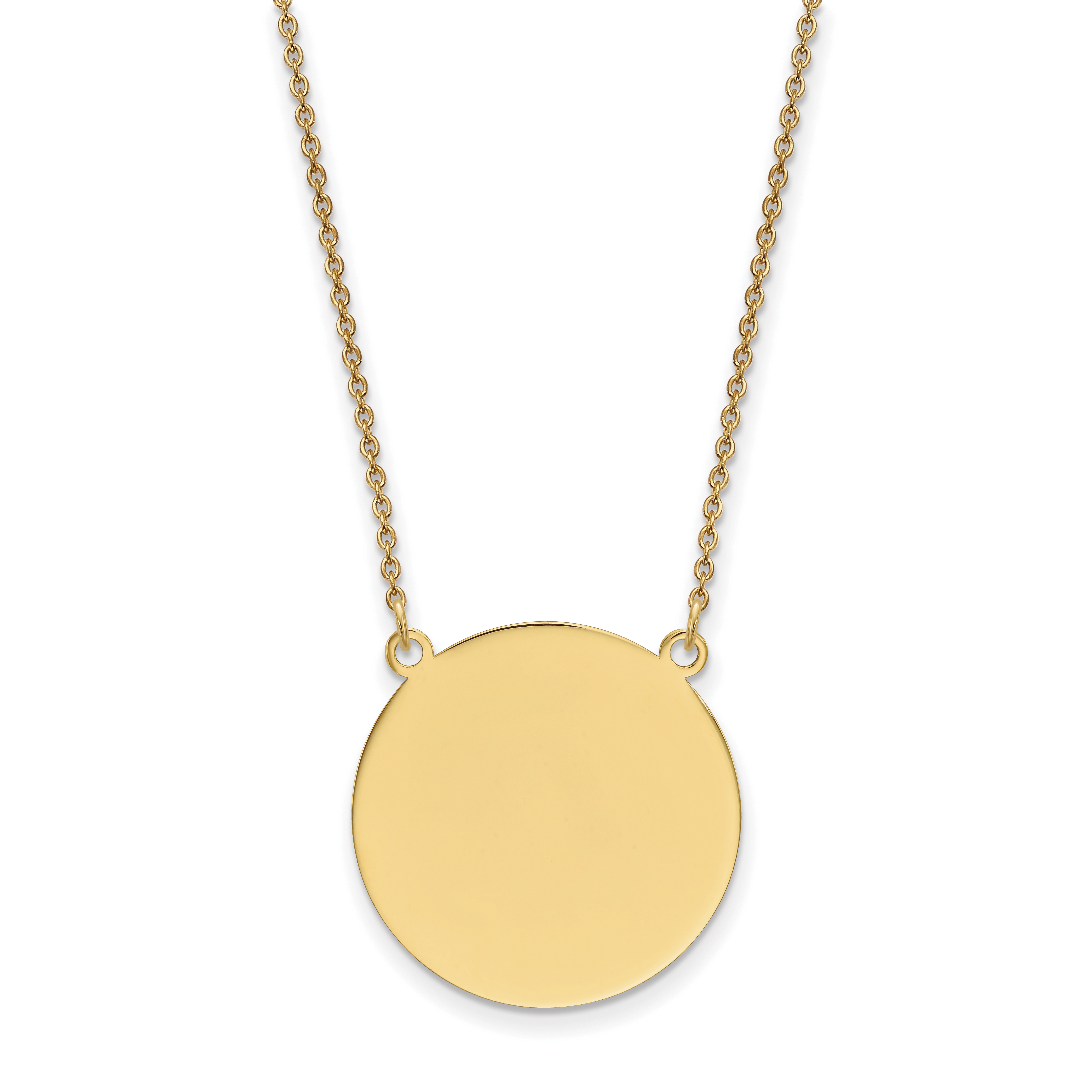 14k Plain .018 Gauge Circular Engravable Disc 18 Necklace