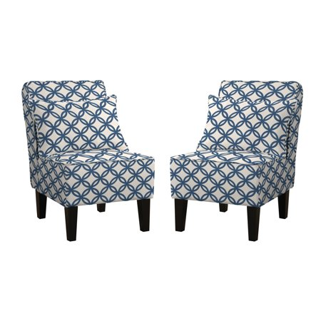 Dani Armless Accent Chair Set Of 2 Honeycomb Navy Blue