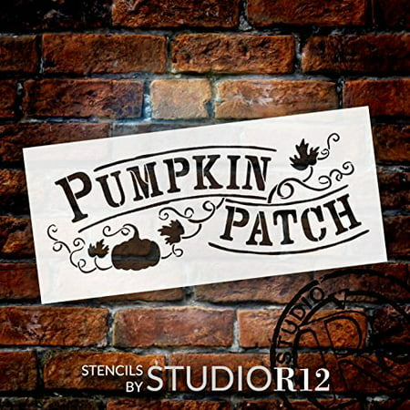 Pumpkin Patch Stencil by StudioR12 | Hand-Drawn, Vines Word Art - Reusable Mylar Template | Painting, Chalk, Mixed Media | Use for Wall Art, DIY Home Decor - CHOOSE SIZE (20