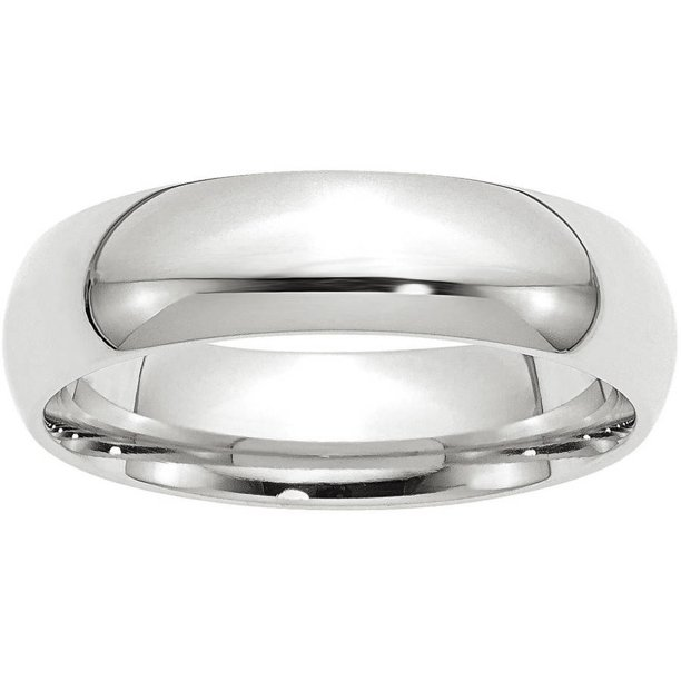 14k White Gold 6mm Comfort-Fit Band