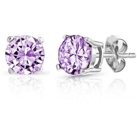 Brazilian Amethyst Gemstone (Round Amethyst Gemstone Sterling Silver Stud Earrings )
