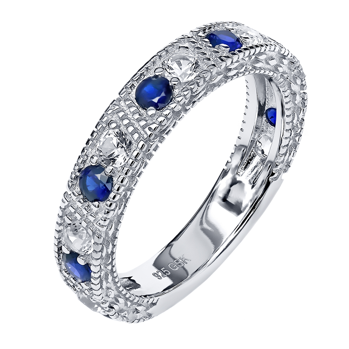 1.60 Ct Blue and White Created Sapphire 925 Sterling Silver Wedding Band Ring